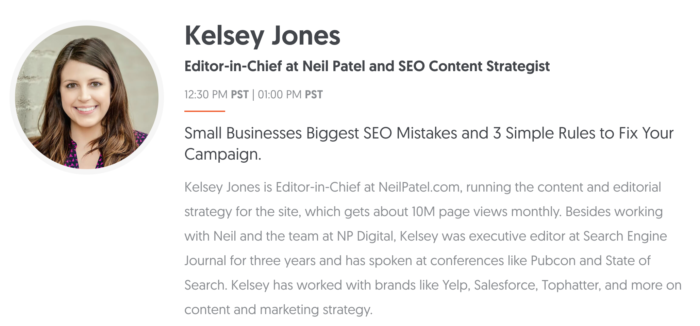 kelsey jones small business seo summit